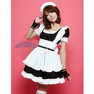 French Maid Outfit Waitress Fancy Dress Ruffle Costume ...