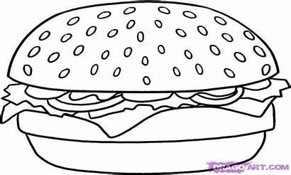 Coloring Step Hamburger Draw Pages Cheeseburger Printable