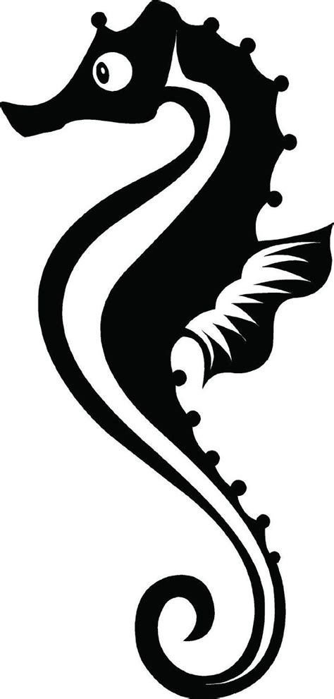 seahorse clipart black and white seahorse silhouette vector