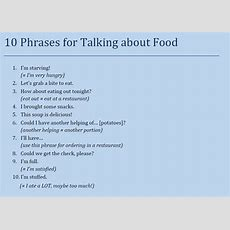10 Phrases For Talking About Food  English Conversation Study  Pinterest Food