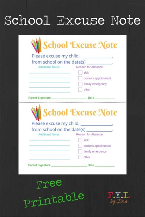 school excuse note  printable fyi  tina
