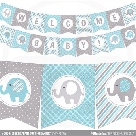 blue elephant baby shower banner boy baby banner blue