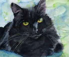 black cat painting black cat painting print watercolor large