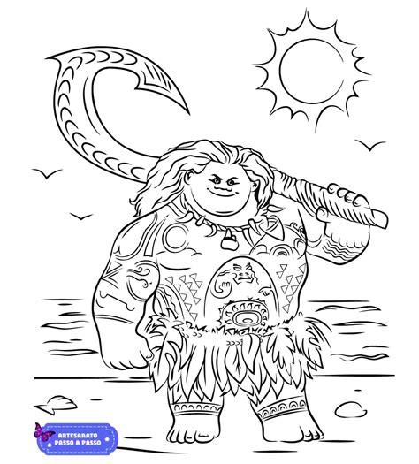 Desenho para colorir Moana Artesanato Passo a Passo