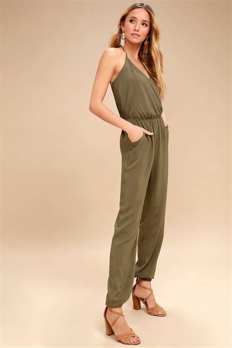 cute olive green jumpsuit sleeveless jumpsuit