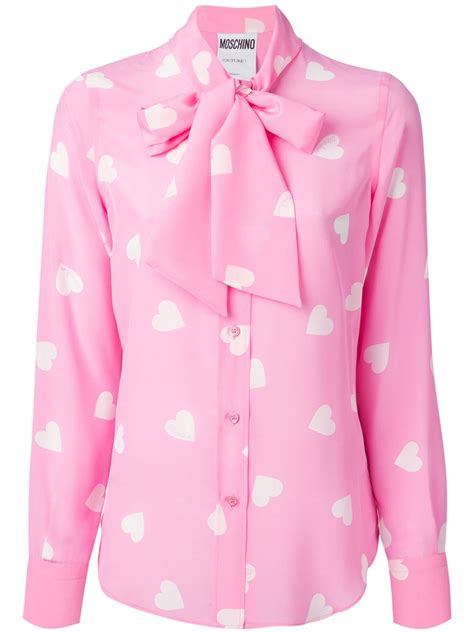 pink blouses moschino print silk blouse in pink pink purple