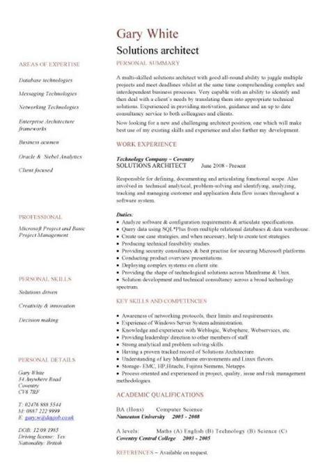 solutions architect cv sample cv writing career history