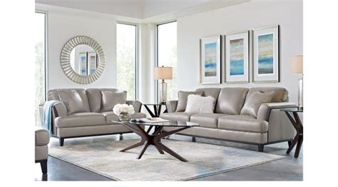 augustina gray leather  pc living room