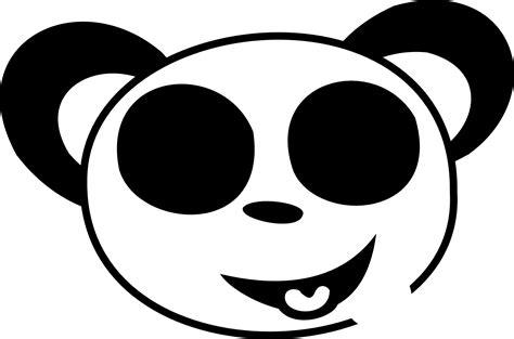 bear head clipart black  white clipart panda