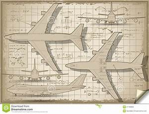 Plane Project In Five Orthogonal Views Stock Vector
