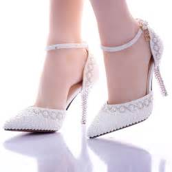 wedding dress shoes 2016 new summer white pearl wedding shoes high heels dress shoes show