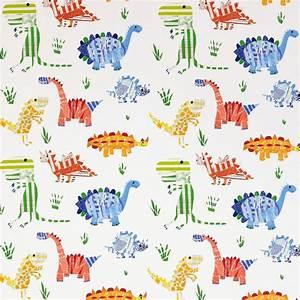 Jolly Jurassic Fabric - Aqua/Tangerine/Apple/Natural (3229