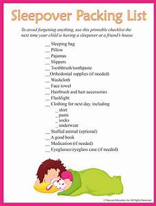 Sleepover And Slumber Party Packing Checklist Printable