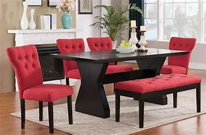 Effie Dining Room Set W Red Chairs Acme Furniture