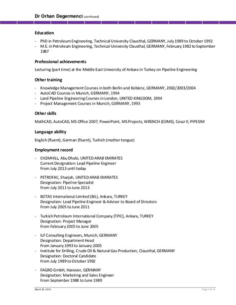 Resume Candidate For Masters by Cv Mr Orhan Degermenci Lead Pipeline Engineer