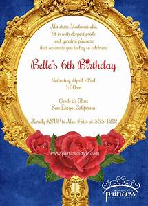 Beauty and the beast inspired birthday party printable for Beauty and the beast wedding invitation template free