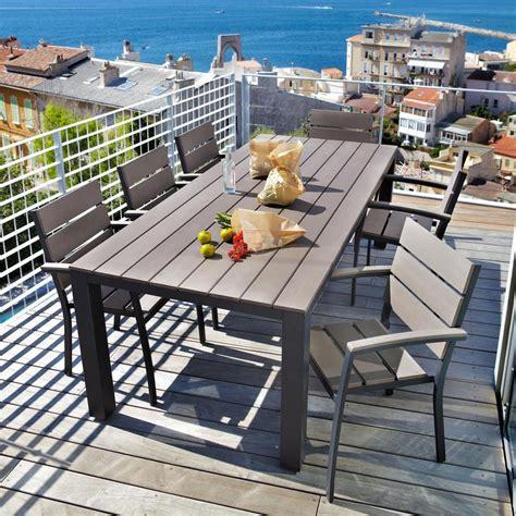 table de jardin 8 personnes table de jardin 8 10 personnes en aluminium gris anthracite l230 escale maisons du monde