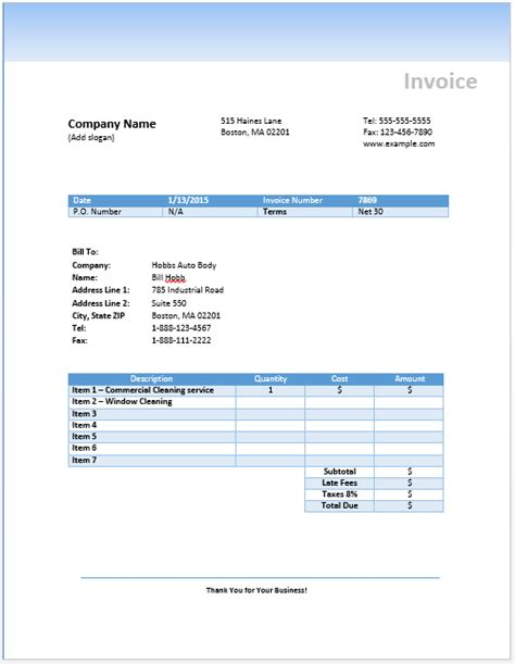 cleaning invoice template uk invoice
