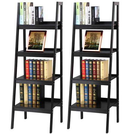 metal ladder shelf yaheetech pair of 4 shelf black leaning ladder shelf
