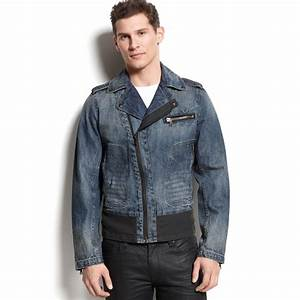Guess Jeans Newcomer Wash Seasonal Moto Jacket in Blue for Men | Lyst