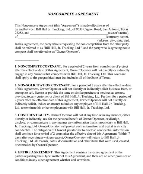 vendor  compete agreement templates  sample