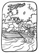 Canoe Coloring Boat Transportation Coloriage Pages Printable Getcolorings Drawing sketch template