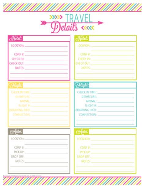printable vacation planner planner template