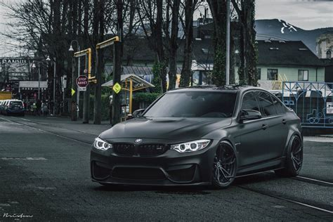 Out Black murdered out bmw m3 joins the side looks really