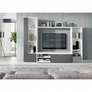 Meuble Tv En Coin : finlandek meuble tv mural pilvi contemporain blanc et gris mat l 220 4 cm achat vente ~ Farleysfitness.com Idées de Décoration