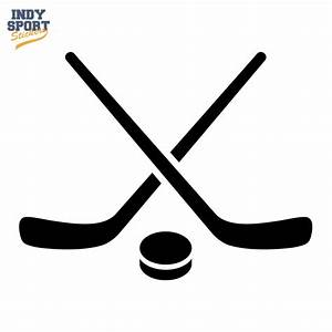 Hockey Puck and Stick Crossed Silhouette - Car Stickers ...