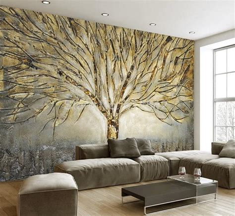 3D Golden Tree Abstract Design Wallpaper Mural for Home or