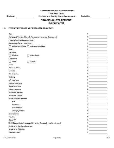 financial statement long form massachusetts
