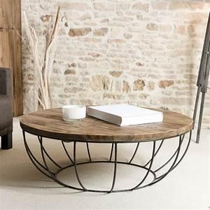 Table Basse Ronde Bois : table basse ronde bois et m tal noir 100cm tinesixe so inside ~ Teatrodelosmanantiales.com Idées de Décoration