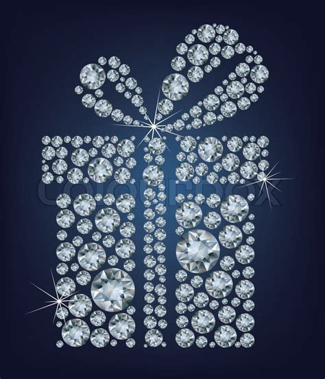 illustration of gift present made up a lot of diamonds