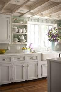 bridge style kitchen faucet painted beadboard backsplash cottage kitchen bhg