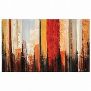 New york morning oil painting abstract rectangular for What kind of paint to use on kitchen cabinets for ready to hang canvas wall art