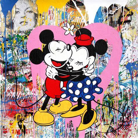 Mickey & Minnie Hug (pink Heart) By Mr Brainwash Denis