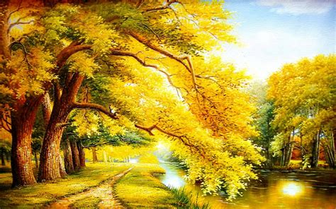 golden autumn trees river wallpapers golden autumn