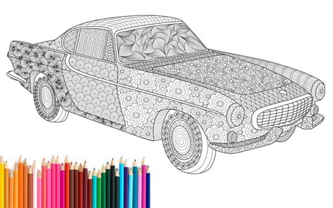 printable adult coloring page zentangle volvo p  recyman