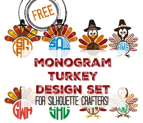 With this download you get 9 free mandala svg files in eps, png, svg & dxf format. Free Monogram Turkey Set: Silhouette Cut Files and Designs ...