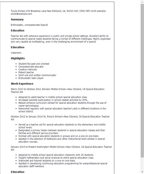 Ese Resume Objective by Professional Special Education Aide Templates To