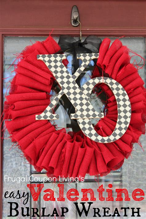 easy valentine burlap wreath tutorial frugal craft