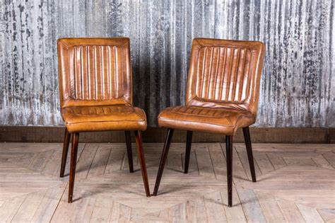 vintage retro style leather dining chairs kitchen cafe