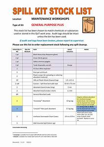 Fm Spill Kit Stock List And Instructions For Use