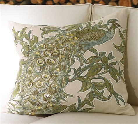 peacock embroidered applique pillow cover traditional