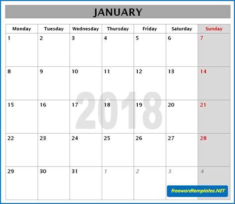 Monthly Calendar Template 2018 2018 Calendars
