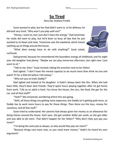tired reading comprehension worksheet  fun teaching