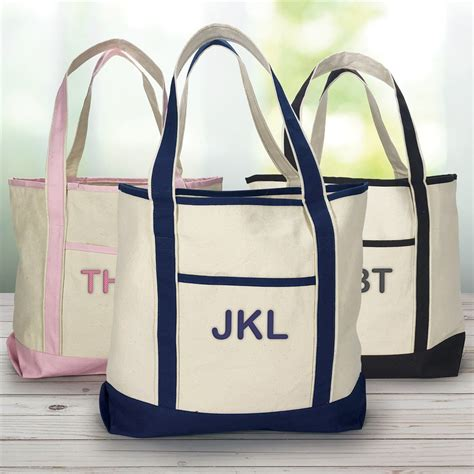 embroidered initials canvas tote bag giftsforyounow