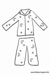 Pajama Outline Coloring Flashcard Clothes Flashcards Dress sketch template