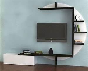 Etagere Murale Tv : ensemble meuble tv blanc et noir laqu design bari ~ Teatrodelosmanantiales.com Idées de Décoration